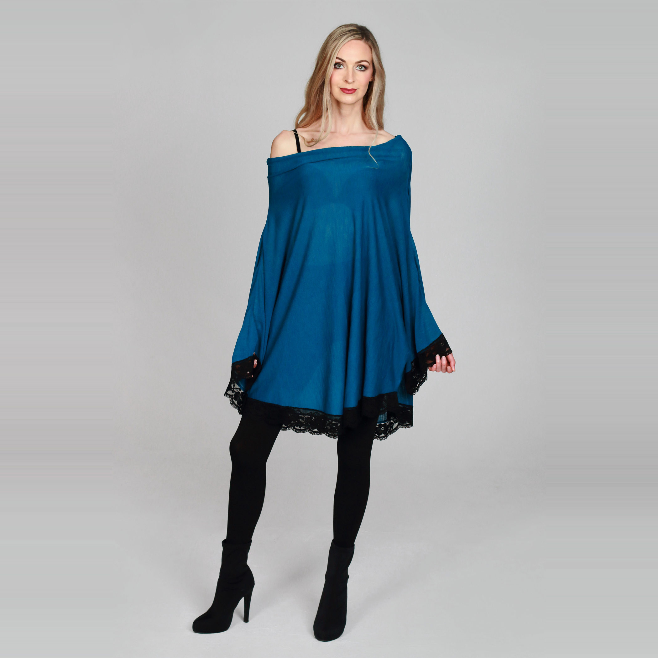 Teal Knit Dress/Poncho