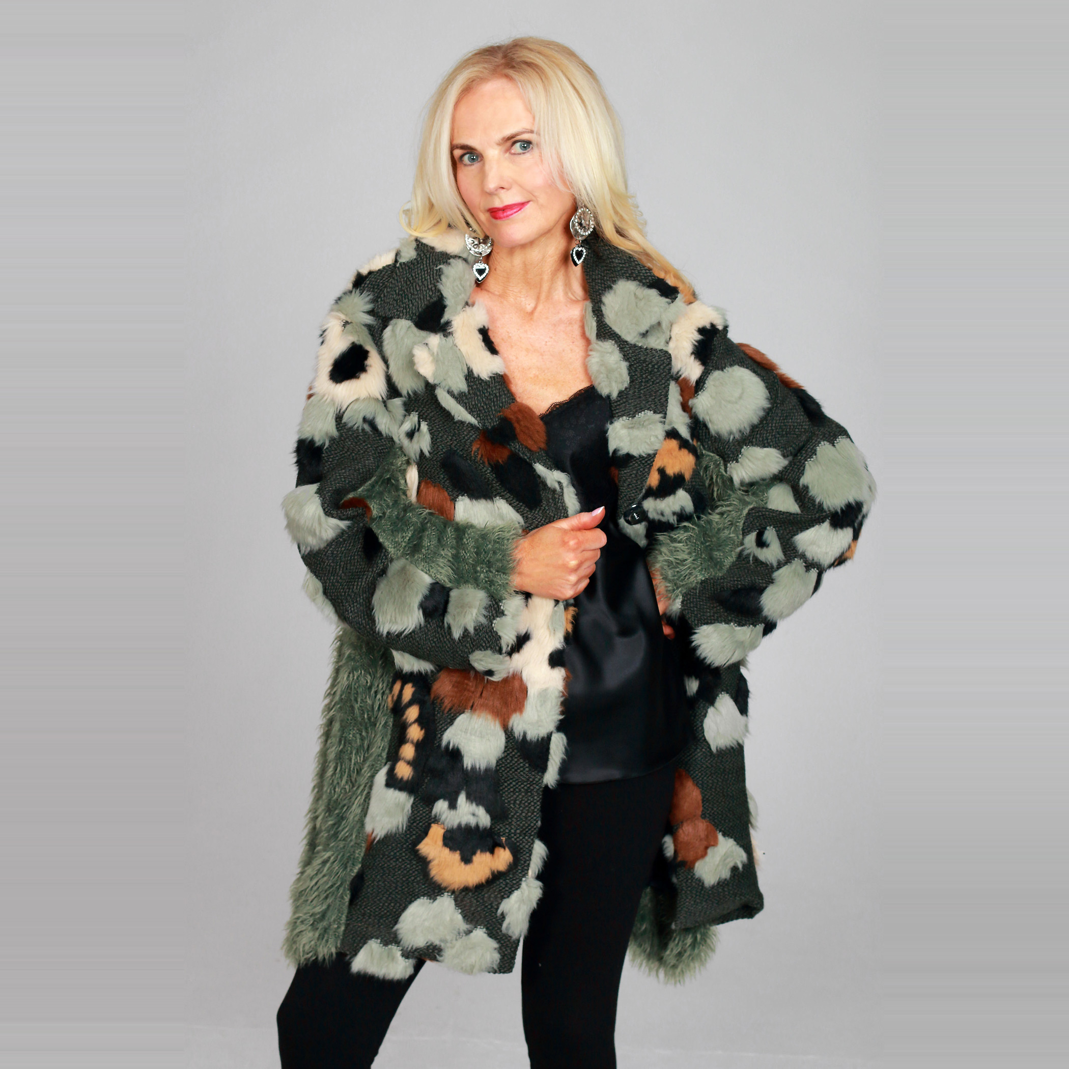 Multicoloured Eco Fur Coat