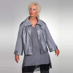 Eco Leather and Merino Knit Combo Jacket
