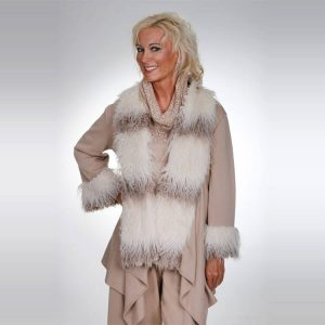 Praline knit jacket with eco fur collar