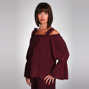 Off the shoulder silk blouse with ruffle sleeve