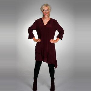 Stretch Italian silk ruffle dress