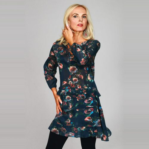 Floral Tunic Dress In Green