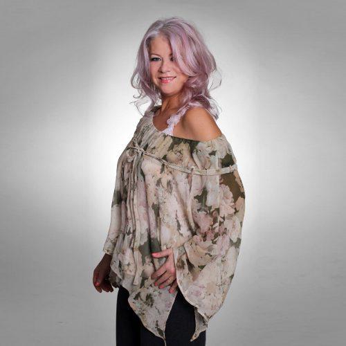 Silk Chiffon Kimono Style Print