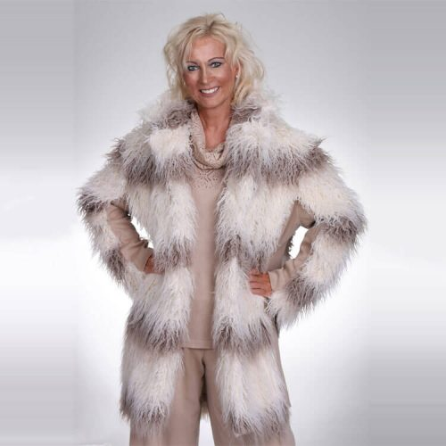 Eco Fur Coat With Knit Side Panels