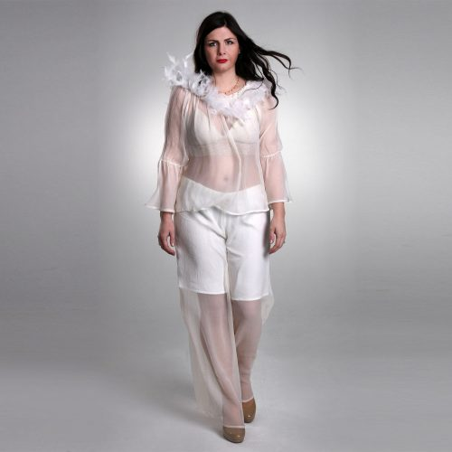Silk Blouse With Feather And Bead Detailing