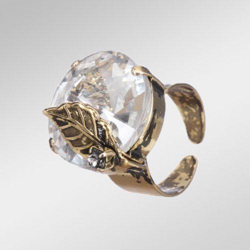 Rhinestone And Gold Ring