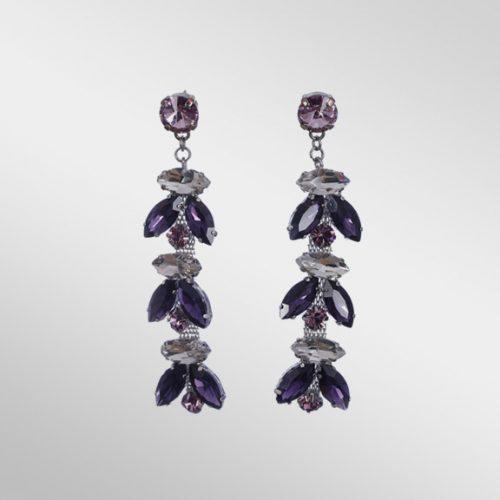 Violet Rhinestone Dangle Earrings